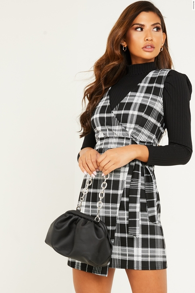 Black Check Wrap Pinafore Dress